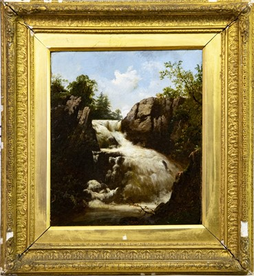 Lot 11-WATERFALL IN A FOREST, AN OIL BY JAMES BURRELL SMITH