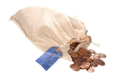 Lot 14-A BANKER'S BAG OF UNCIRCULATED HALF PENNIES DATED 1967