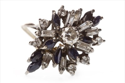 Lot 310-A BLUE GEM AND DIAMOND CLUSTER RING