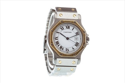 Lot 796-A LADY'S CARTIER SANTOS STEEL AUTOMATIC WATCH