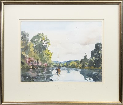 Lot 26-SAILING BOAT ON THE RIVER, A WATERCOLOUR BY STEVEN PROUDFOOT