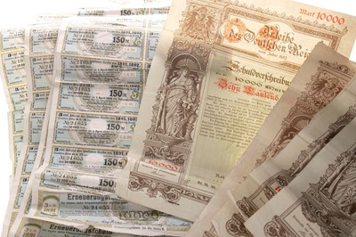 Lot 16-A LOT OF GERMAN BANKNOTES AND BONDS