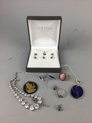 Lot 19-A LOT OF SILVER AND COSTUME JEWELLERY