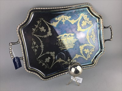 Lot 25-A SILVER PLATED PRESENTATION TRAY AND TROPHY