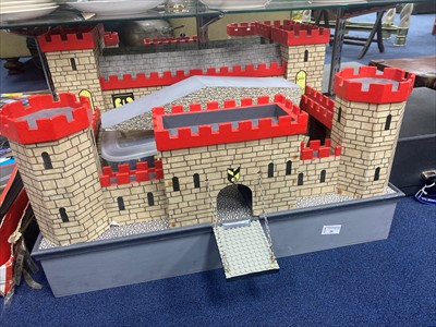 Lot 26-A LATE 20TH CENTURY WOODEN CASTLE AND MOAT SET