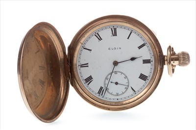 Lot 799-AN ELGIN NINE CARAT GOLD POCKET WATCH