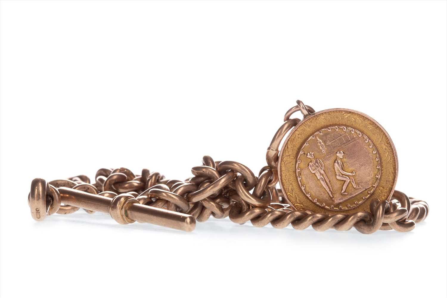 Lot 800-A CURB LINK WATCH CHAIN WITH MEDAL