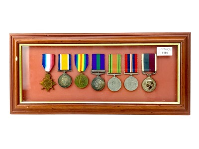 Lot 1616-A FRAMED WORLD WAR MEDAL GROUP RELATING TO THE LOGUE FAMILY