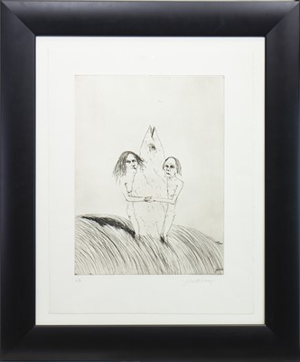 Lot 532-FISH TOTEM, AN ARTIST PROOF ETCHING BY JOHN BELLANY