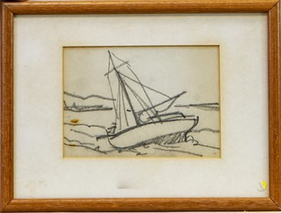 Lot 27-SAILING BOAT, A PENCIL SKETCH BY MARGARET MORRIS