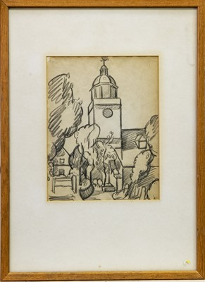Lot 26-DOMED BUILDING, SOUTH OF FRANCE, A PENCIL SKETCH BY MARGARET MORRIS