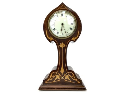 Lot 1116-AN EDWARDIAN ART NOUVEAU INLAID MAHOGANY MANTEL CLOCK