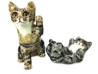 Lot 1031-A WINSTANLEY POTTERY CAT ALONG WITH A KITTEN