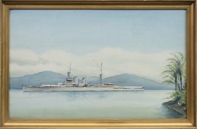Lot 9-HMS RENOWN, A WATERCOLOUR