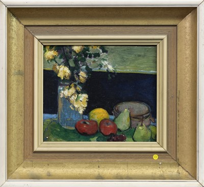 Lot 17-STILL LIFE WITH FRUIT AND FLOWERS, AN OIL