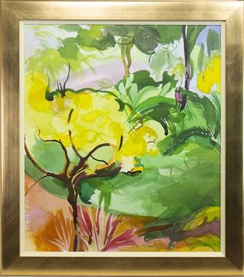 Lot 545-YELLOW TREE, RED PATH, A WATERCOLOUR BY JENNIE TUFFS