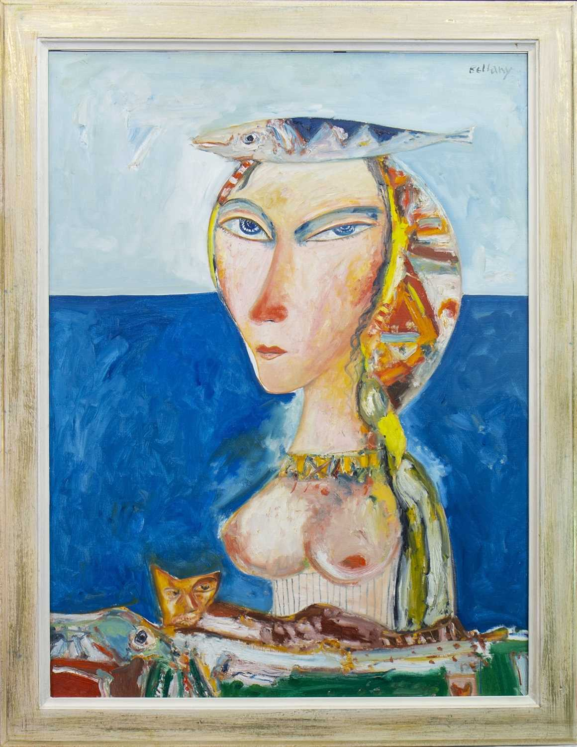 Lot 567 - WOMAN OF THE SEA, AN OIL BY JOHN BELLANY