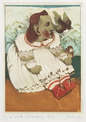 Lot 711 - GIRL WITH MONKEY, A COLOUR ETCHING BY JOHN BYRNE