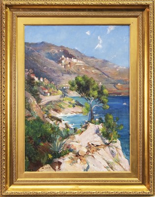 Lot 31-A CONTINENTAL COASTAL VIEW, AN OIL BY ALLAN STEWART