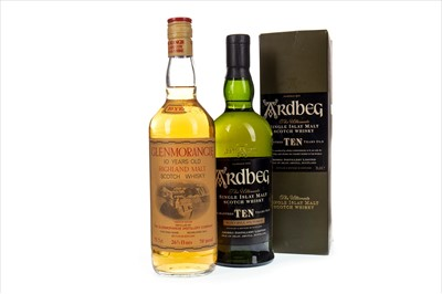 Lot 321-ARDBEG 10 YEARS OLD AND GLENMORANGIE 10 YEARS OLD