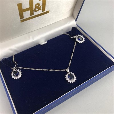 Lot 10-A GEM SET SUITE OF SILVER JEWELLERY AND A SILVER BANGLE