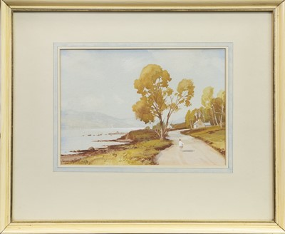 Lot 28-FIGURE WALKING BY A STREAM, A WATERCOLOUR BY TOM CAMPBELL