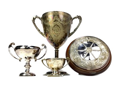 Lot 1708 - A VICTORIAN SILVER PLATED GOLFING TROPHY ALONG WITH THREE OTHERS