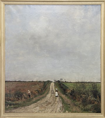 Lot 2 - FIGURE DOWN A COUNTRY PATH, AN OIL BY WILLIAM PAGE ATKINSON