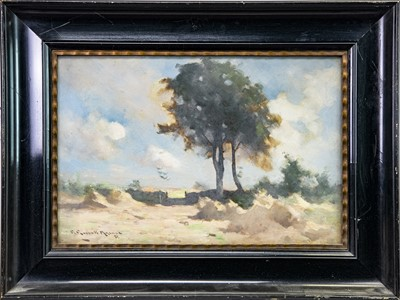 Lot 25-RURAL SCENE, AN OIL BY ROBERT RUSSELL MACNEE