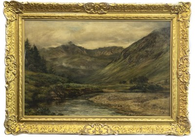 Lot 28-LOCH TAY FROM FEARNAN, PERTHSHIRE, AN OIL BY EDWARD CATTERUS