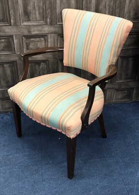 Lot 16-A PAIR OF OPEN ELBOW CHAIRS