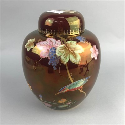 Lot 12-A CARLTON WARE ROUGE ROYALE GINGER JAR AND COVER