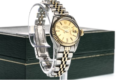 Lot 855-A LADY'S ROLEX OYSTER PERPETUAL DATE STAINLESS STEEL BI COLOUR AUTOMATIC WRIST WATCH