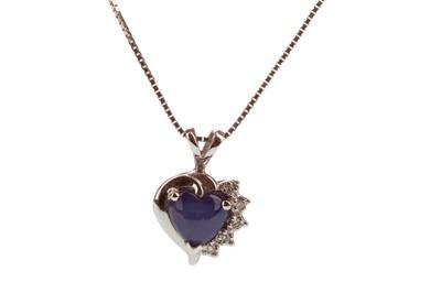 Lot 1441-A SAPPHIRE AND DIAMOND HEART PENDANT