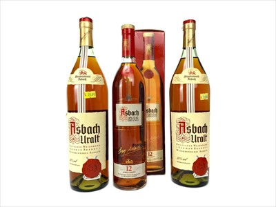 Lot 1050-TWO LITRE BOTTLES OF ASBACH URALT AND ONE BOTTLE OF ASBACH 12 YEARS OLD