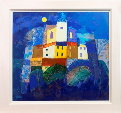 Lot 535-VILLAGE PERCHE AND MOON, A MIXED MEDIA BY GEORGE BIRRELL