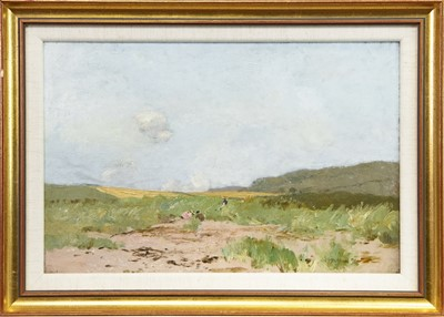 Lot 32-RURAL LANDSCAPE WITH FIGURES, AN OIL BY GEORGE HOUSTON