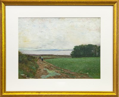Lot 33-FIGURES DOWN A COUNTRY PATH, AN OIL BY GEORGE HOUSTON