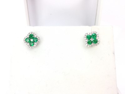 Lot 340A-A PAIR OF DIAMOND AND GREEN GEM EARRINGS