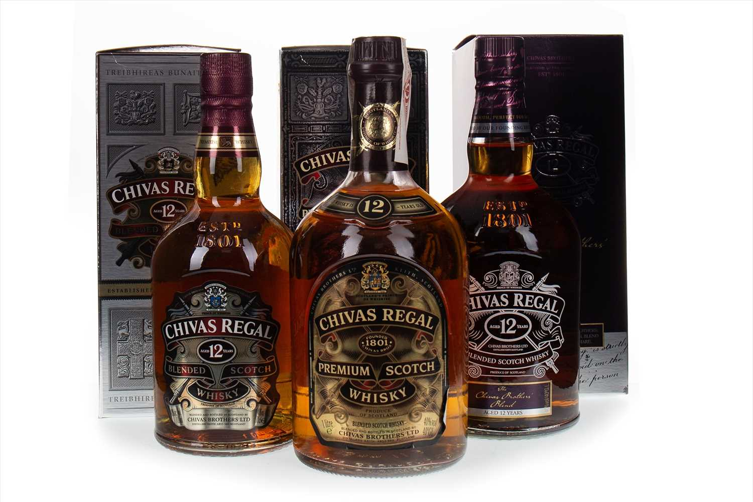 Lot 412-TWO LITRES AND ONE BOTTLE OF CHIVAS REGAL 12 YEARS OLD