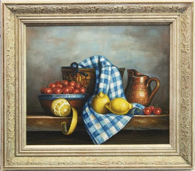 Lot 20-STILL LIFE WITH FRUIT, AN OIL BY GEORGES PORCEL