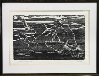 Lot 11-HORSE ON THE SHORE, A WOODCUT BY JAMES SPENCE