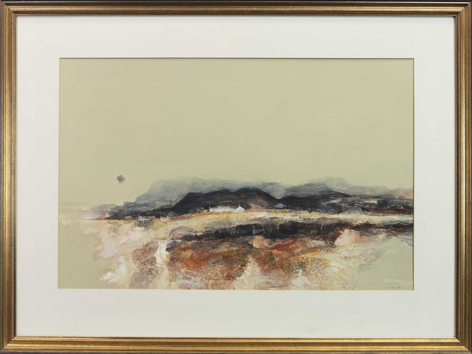 Lot 762 - QUIET EVENING, KINTYRE, A GOUACHE AND ACRYLIC BY GORDON HOPE WYLLIE
