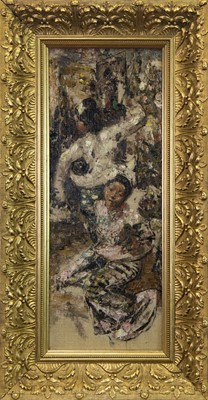 Lot 35-BURMESE DANCING GIRLS, AN OIL BY EDWARD ATKINSON HORNEL
