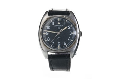 Lot 701 - A GENTLEMAN'S HAMILTON MILITARY ISSUE STAINLESS STEEL MANUAL WIND WRIST WATCH