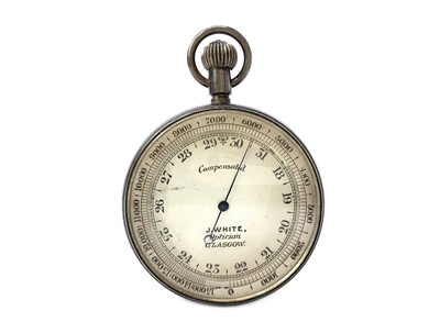 Lot 1139 - AN EARLY 20TH CENTURY POCKET BAROMETER BY J. WHITE