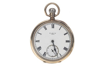 Lot 706 - AN ELGIN NINE CARAT GOLD OPEN FACE POCKET WATCH