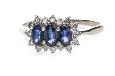 Lot 313-A BLUE GEM AND DIAMOND RING