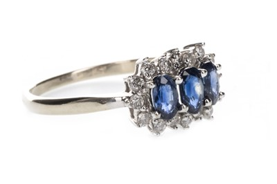 Lot 1317-A BLUE GEM AND DIAMOND RING