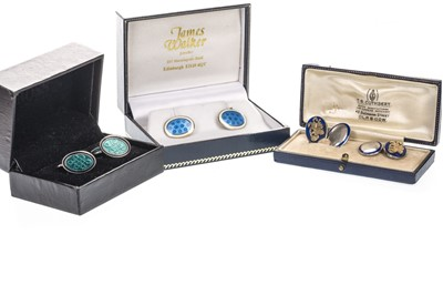 Lot 1321-A LOT OF THREE PAIRS OF ENAMELLED CUFFLINKS